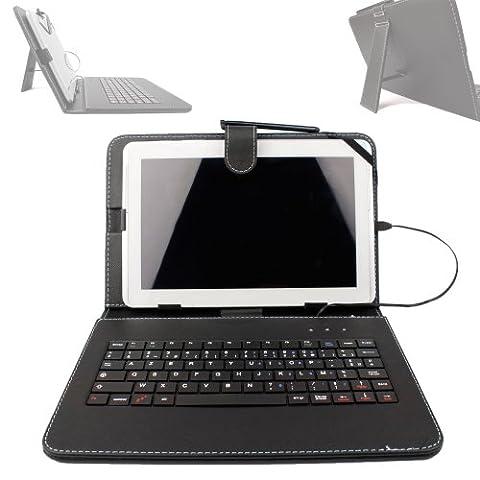 Etui noir + clavier intégré AZERTY (français) pour Asus Zenpad Z300M-6A037A Tablette hybride 10.1