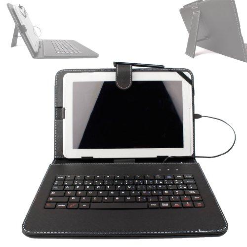 """Etui aspect cuir noir + clavier intégré AZERTY pour Artizlee Tablette Tactile 3G ATL-21 10,1"""" 16Go et ATL-26 9,6"""" 16Go avec stylet tactile BONUS - Garantie 2 ans"""