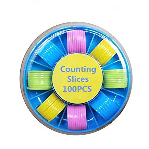 Vivianu Karteizähler, 100 Stück, Kunststoffmarkierer, gemischte Farben, 25 mm, für Bingo-Karten, Spielkarten mit Aufbewahrungsbox (Bingo-karten Für Kinder)