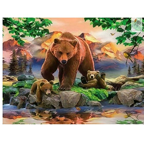 5D Diy Animal Diamond Embroidery Diamond Cross Stitch Crystal Sets Decorative Diy Round Diamond Painting Three Big Brown Bear-30x40cm