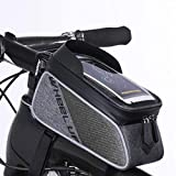 Bike Frame Bag, Top Tube Bag, XPhonew Wasser Resistant Radfahren Front Tube Frame Pannier Mountain MTB City Road Fahrrad Crossbar Tasche Pouch Halter für iPhone 7 7 Plus / 6 / 6S Plus 5S SE Samsung Galaxy S8 S7 Edge S6 Edge Plus Google Nexus Huawei Xiaomi Sony OnePlus HTC Smartphones bis zu 6 Zoll (Schwarz und Grau)
