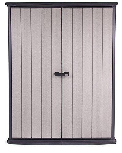Ondis24 wetterfestes Gerätehaus mit breit öffnenden Türen mit stabilem Griff aus Duotec mit Boden, Geräteschrank Schuppen, abschließbar, anstreichbar, 1500 Liter Volumen