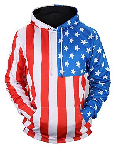 Pizoff Unisex Hip Hop Sweatshirts druck Kapuzenpullover mit Farbkleks 3D Digital Print usa flag flug, Y1760-71, Gr. M (Pullover Acne)