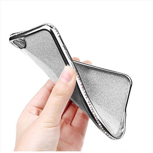 Custodia iPhone 6, Cover iPhone 6s, Yoowei® diamante di Bling Custodia Chiaro Cristallo Ultra Sottile Morbido Placcatura TPU Gel Case Cover per iPhone 6/6s 4.7, Rosa Silver