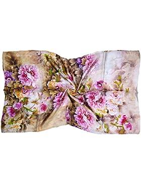 Bees Knees Fashion - Bufanda - Ecru Floral Estampado De Lujo Largo Bufanda De Seda Pura