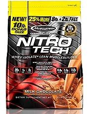 Muscletech Performance Series Nitrotech Whey Protein Peptides & Isolate (30g Protein, 3g Creatine, 6.8 BCAAs, 5g Glutamine & Precursor, 3.3g Leucine, Post-Workout) - 10lbs (4.54kg) (Milk Chocolate)