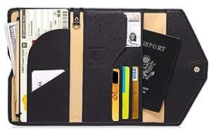 Zoppen Mulit-purpose Rfid Blocking Travel Passport Wallet (Ver.4) Trifold Document Organizer Holder, #1 Balck