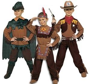 Ciao 10050-3in 1Oeste: Indio, vaquero y Robin Hood, marrón/verde 4-6 anni marrón y verde