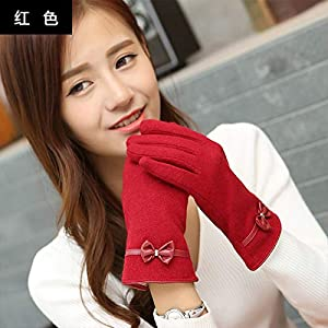 513R3VkhEwL. SS300  - Q_STZP Gloves glove mitten Gloves female winter students Korean version of the cute fashion touch screen gloves plus velvet warm bow riding gloves