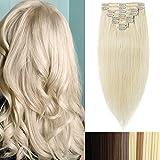 Clip-In-Extensions-Echthaar für komplette 100% Remy Echthaar Haarverlängerung 105g-50cm (#60 Platinum Blonde)