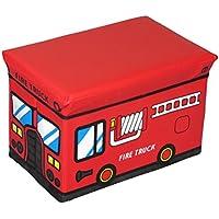 Preisvergleich für OUNONA Sitzhocker faltbare Spielzeugkiste Aufbewahrungsbox Kinderzimmer Schlafzimmer Spielzeugbox (Rot Feuerwehrfahrzeug)