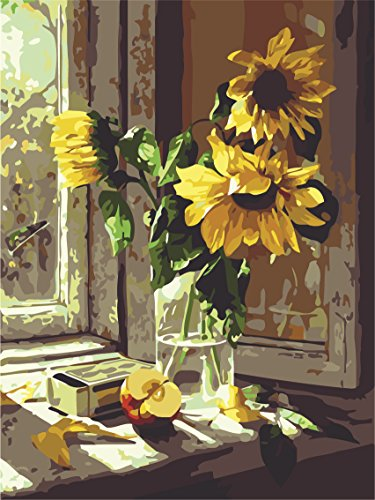 DIY Digital Leinwand-Ölgemälde Geschenk für Erwachsene Kinder Malen Nach Zahlen Kits Home Haus Dekor - Sonnenblumen 40*50 cm