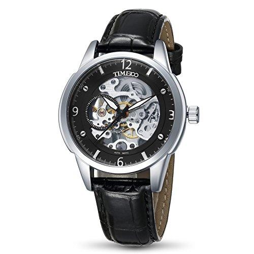 Time100 W60059G.03A Reloj Automático esqueleto mecánico hueco el color negro de correa piel