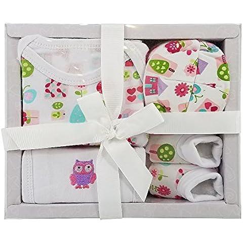 Harson&Jane 100% cotone Gift Set Baby - Body, Bib, Cap, bottini per 0-6 Mese bambino appena nato