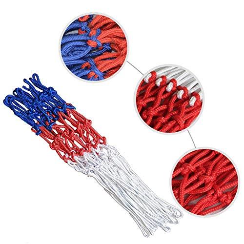 TOMMY LAMBERT Basketballnetz, 2 Stück, universal, Standard, rot, weiß, blau, Nylon, Netz, Basketballkorb, Torrand, Rückwand, Ersatzzubehör