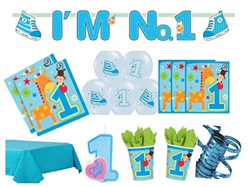 XXL Party Deko Set 1.Geburtstag Kindergeburtstag für 16 Personen blau Junge