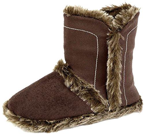 Damen Warm Pelz Gefüttert Knöchel Bootie-Hausschuhe in hellbraun oder braun Braun
