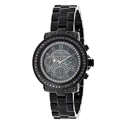 LUXURMAN 2347 - Reloj para mujeres, correa de acero inoxidable color negro