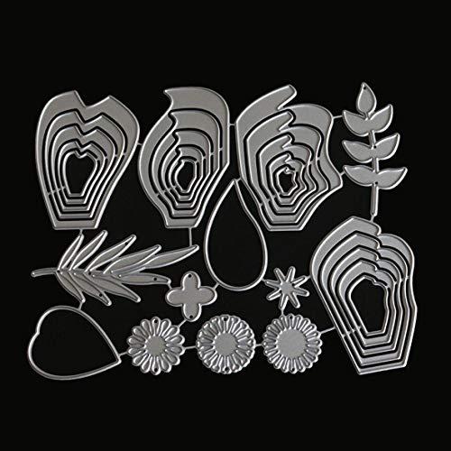 Heaviesk Fleur Feuilles en Métal Matrices De Découpe pour DIY Scrapbooking Décoratif Cartes Gaufrage Matrices Couper Pochoirs Artisanat Cadeau