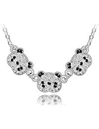 Silver Crystal Diamond Accent Panda Pendant Chain Necklace Made with Swarovski Crystal, with a Gift Box