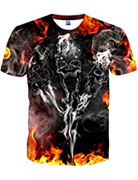 84722f7b3 EOWJEED Unisex Casual Patrón 3D Impreso Short Sleeve T-Shirts Top Tees