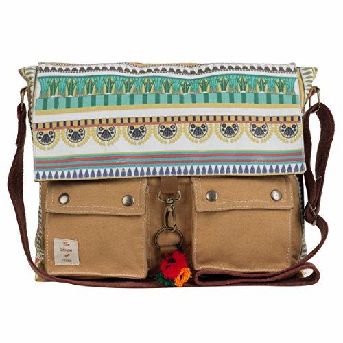 The House Of Tara Printed Canvas Messenger Bag image - Kerala Online Shopping