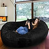 The Biggest beanbag in Europe - Gigantic Bean Bag Chair in Black with Memory Foam Filling and Machine Washable Cover-Comfortable Cozy Lounge Sack to Chill, Huge Bed, Sofa for Kids