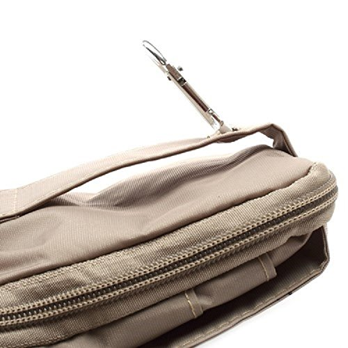DFV mobile® - Multi-functional Vertical Stripes Pouch Bag Case Zipper Closing Carabiner for =>      APPLE iPhone SE > BLACK XXL (19 X 10.5 cm) BEIGE (16 x 9.5 cm)