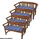 Set di 4 posti in cotone pad sedia da giardino cuscini in poliestere blu plaid lunga 110 cm