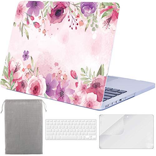 Sykiila Schutzhülle für MacBook Pro 13 Zoll mit Retina Display (für MacBook Modell: A1425 / A1502) Hardcover 4 in 1 mit HD Displayschutzfolie + TPU Tastatur + Sleeve - Pink Florals -