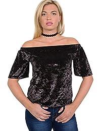 PILOT® Women's Half Sleeve Crushed Velvet Bardot Top in Black