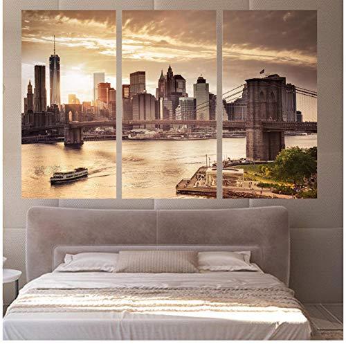 qiaoaoa 3 Stücke Leinwand Wandkunst Bilder Rahmen Küche Restaurant Decor Sonnenuntergang Stadtbild Manhattan Bridge River 30x60cmx3 Kein Rahmen -