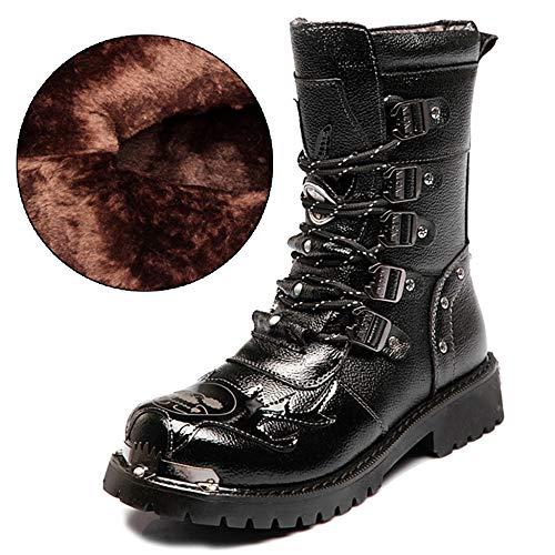 MERRYHE Botas De Combate Militares del Ejército De Los Hombres Botas De Cordones De Mediados De La Pantorrilla Anti-colisión Zapatos De Invierno Cálido Botas Martin De Punk,Black(Fleece)-37
