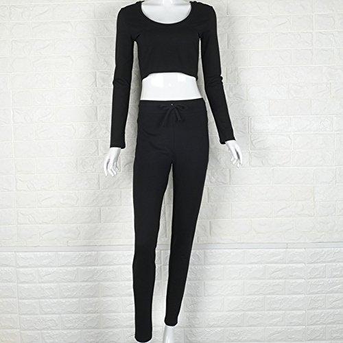 Femme Couleur Unie U-Cou Costume De Sport Loisirs À Capuchon Manches Longues Noir