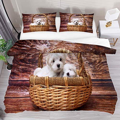 Soefipok set copripiumino biancheria da letto due cesto di vimini marrone per cani set di consolatore stampato con 2 federe per cuscini 3 pezzi morbidi, 1 copripiumino con 2 cuscini