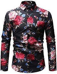 04d16ef4ba Zxllyntop Camisa de Hombre Otoño e Invierno Casual de Gran tamaño Camisa de  los Hombres Personalidad