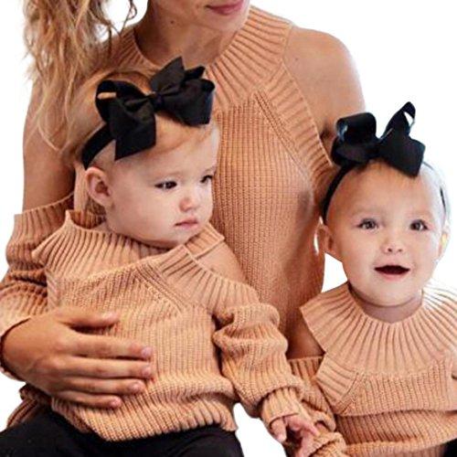 Mom-kinder Sweatshirt (Mutter Tochter stricken Pullover, Huihong Familie passenden Pullover Mädchen Frauen stricken Pullover Outfits (Khaki, Mama S))