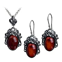 Cherry Amber Sterling Silver Grapevine Oval Set