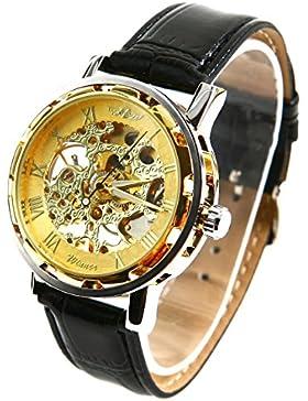 Winner - Herrenuhr - Selbstaufzug mechanische Uhr - Leder armbanduhr - golden