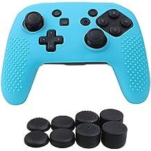 YoRHa Tachonado silicona caso piel Fundas protectores cubierta para Nintendo Switch Pro Mando x 1 (azul) Con PRO los puños pulgar thumb gripsx 8