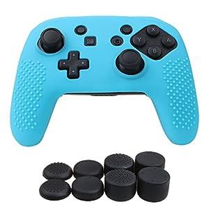 YoRHa Studded Silikon Hülle Abdeckungs Haut Kasten für Nintendo Switch Pro Controller x 1 (blau) Mit Pro aufsätze Thumb Grips x 8