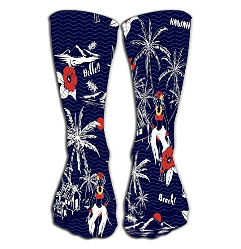 No Soy Como Tu Hohe Socken Outdoor Sports Men Women High Socks Stocking Summer Hawaiian Girl Island Wave Background Tropical Hand Drawn Hibiscus Flowers plam Kawaii Tile Length 19.7