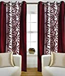 Free home style curtains are made of polyester. This curtain is of maroon in colour and has floral prints.