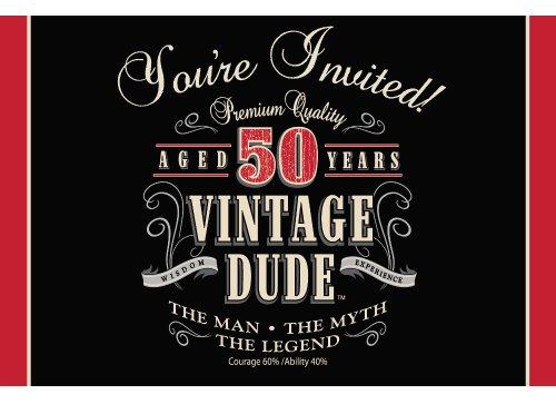 Unbekannt Creative Converting Vintage Dude 8Zählen zum 40. Geburtstag Party Einladungen, Papier, Vintage Dude 50th Birthday, Einheitsgröße