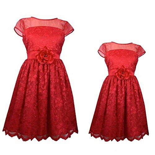PARTNERLOOK Mutter & Tochter festliches Kleid, Mädchen Damen Outfit, Cocktail Kleid, rot, NEU (14 (Gr. 34)) Bonnie Jean Kleid 14
