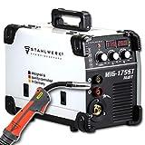 STAHLWERK MIG 175 ST IGBT - Saldatrice a gas MIG MAG con 175 Ampere, filo di riempimento FLUX, con MMA E-Hand, bianco, 5 anni di garanzia del produttore