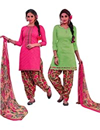 EasyToShop Retail Women's Cotton Printed Salwar Suits Unstiched Dress Materials (Combo Pack Of 2) _AMVRRR009_Pink...