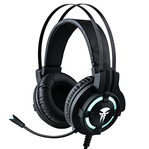 Horsky Gaming Kopfhörer mit eis Blau Beleuchtung Headset mit LED Mikrofon für Laptop PC Mac PS4/Xbox - Controller Xbox Blau 360 Led