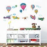 Decowall DW-1301 6 Heißluftballons und 5 Doppeldecker Flugzeuge im Himmel Wandtattoo Wandsticker Wandaufkleber Wanddeko für Wohnzimmer Schlafzimmer Kinderzimmer
