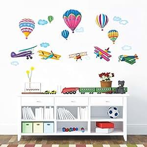 Decowall DW-1301 6 Montgolfières et 5 Biplans dans le Ciel Autocollants Muraux Mural Stickers Chambre Enfants Bébé Garderie Salon